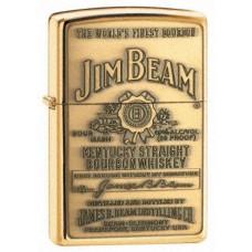 Zippo Jim Beam embleemiga klassikaline poleeritud messing tulemasin