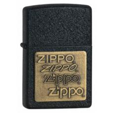 Kroomitud põhjal Zippo embleemidega must tulemasin
