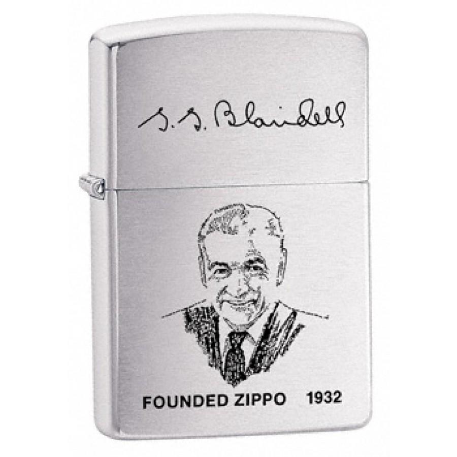 Zippo leiutaja G.G.Blaisdelli näopildiga harjatud kroom tulemasin